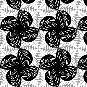 Tropical Leaves Tessellated in Black White & Gray #2