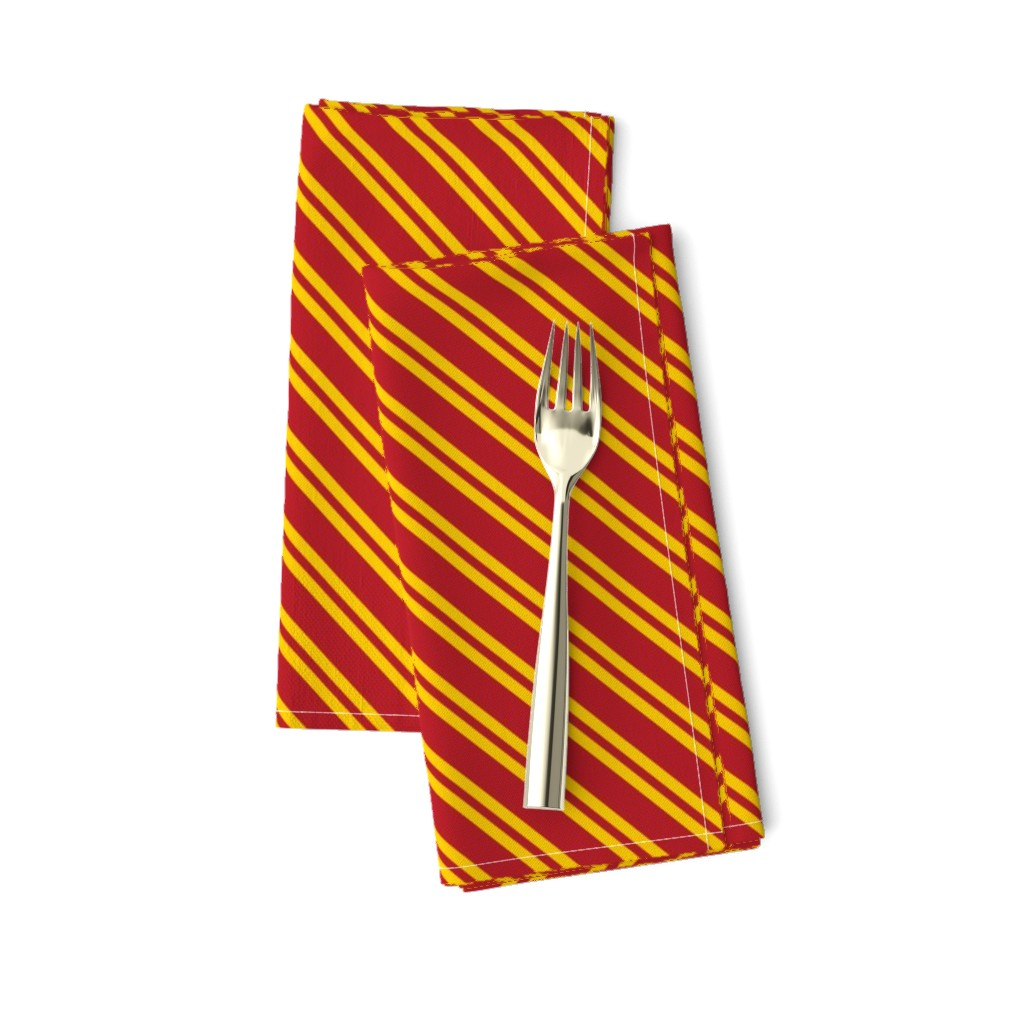 Amarela Dinner Napkins featuring Magic School Inspired Gryffin Lion Diagonal Double Stripes by designedbygeeks