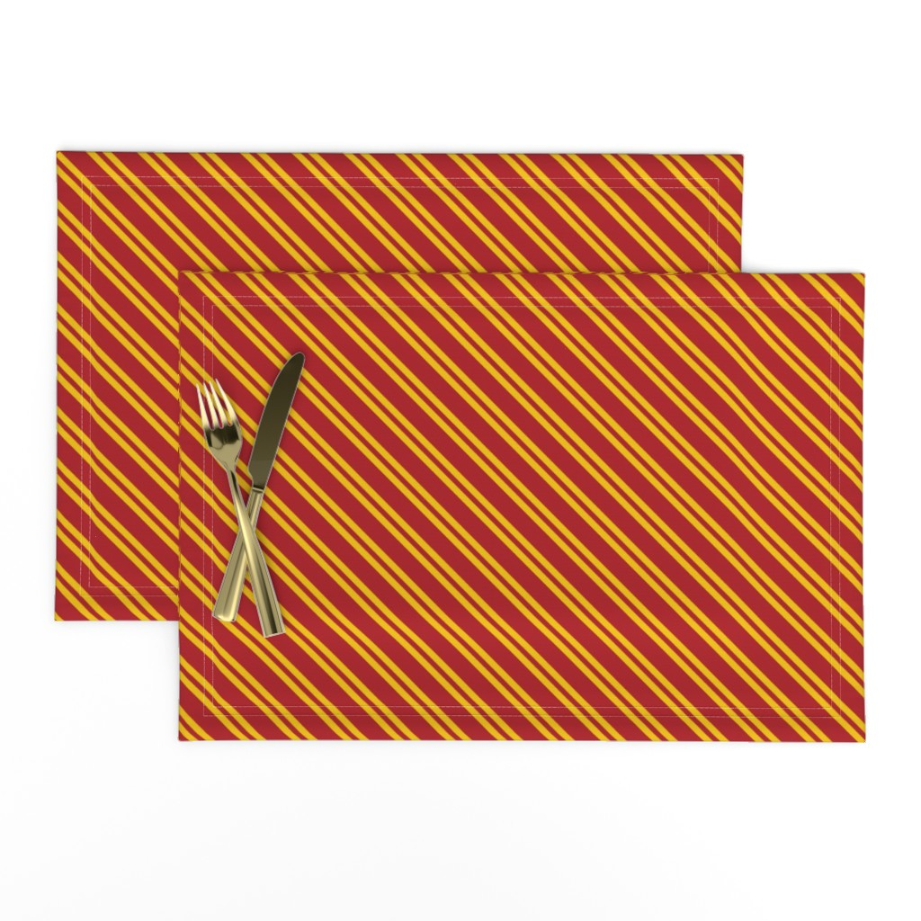 Lamona Cloth Placemats featuring Magic School Inspired Gryffin Lion Diagonal Double Stripes by designedbygeeks