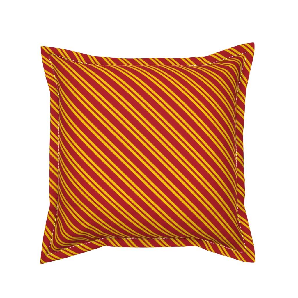 Serama Throw Pillow featuring Magic School Inspired Gryffin Lion Diagonal Double Stripes by designedbygeeks
