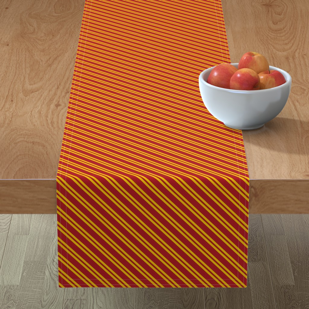 Minorca Table Runner featuring Magic School Inspired Gryffin Lion Diagonal Double Stripes by designedbygeeks