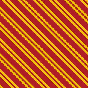Diagonal Double Stripes in Red and Golden Yellow