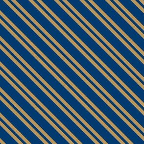 Diagonal Double Stripes in Blue and Bronze