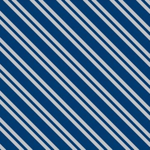Diagonal Double Stripes in Blue and Grey
