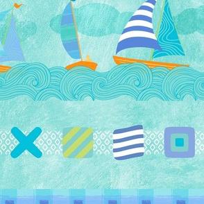 Sailboats & Stripes Aqua LRG