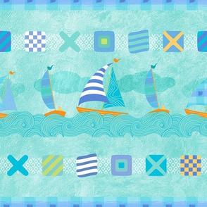 Sailboats & Stripes Aqua MED