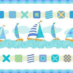 Sailboats & Stripes White LRG