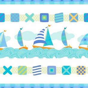 Sailboats & Stripes White MED