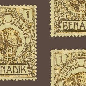 Large 1903 Benadir Elephant stamp, brown
