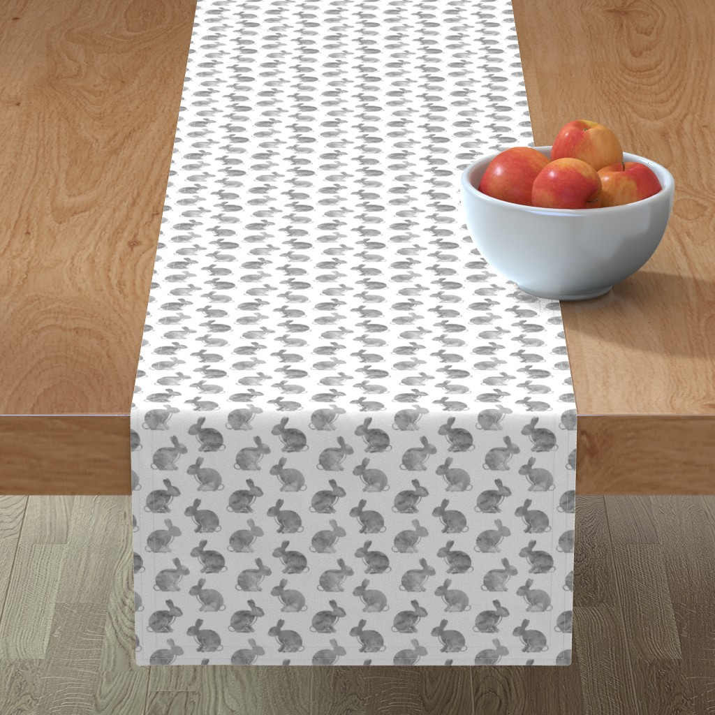 Minorca Table Runner featuring watercolor bunnies || easter fabric - grey by littlearrowdesign