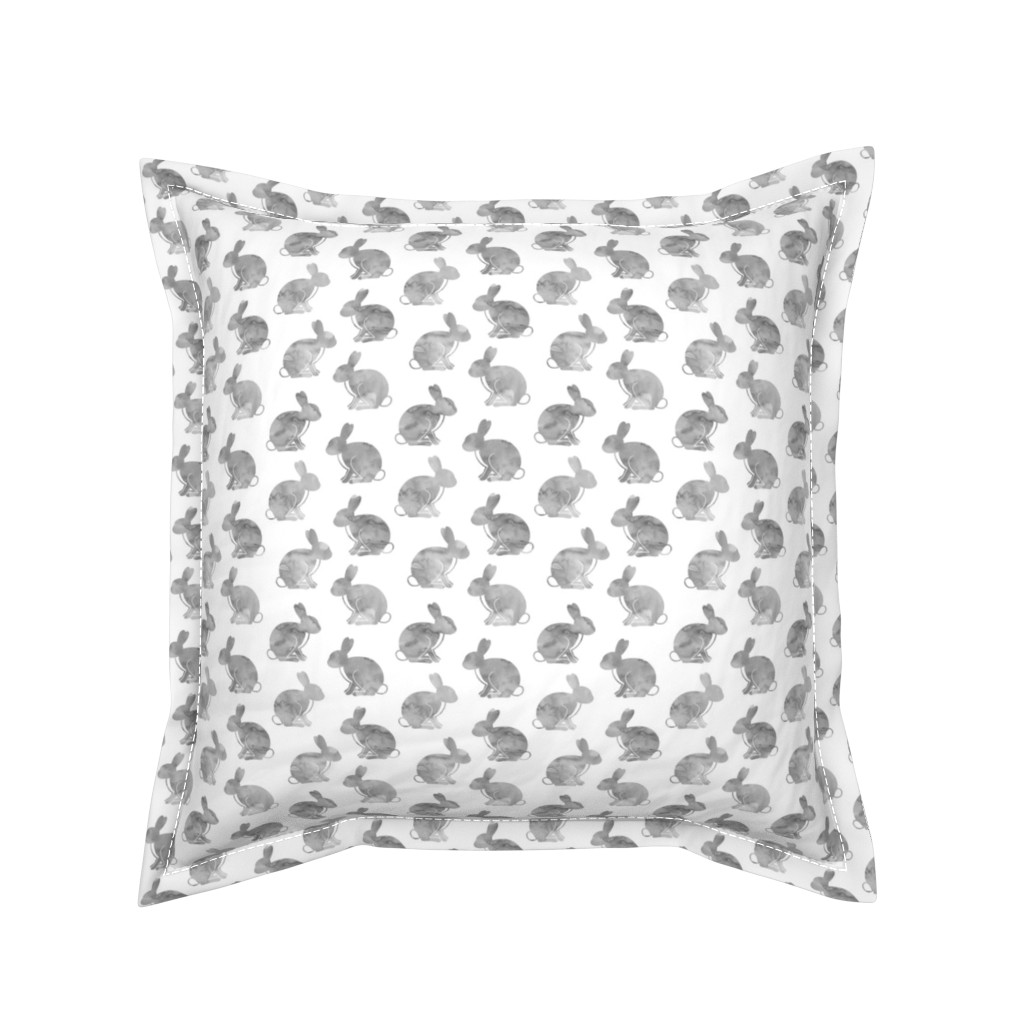 Serama Throw Pillow featuring watercolor bunnies || easter fabric - grey by littlearrowdesign