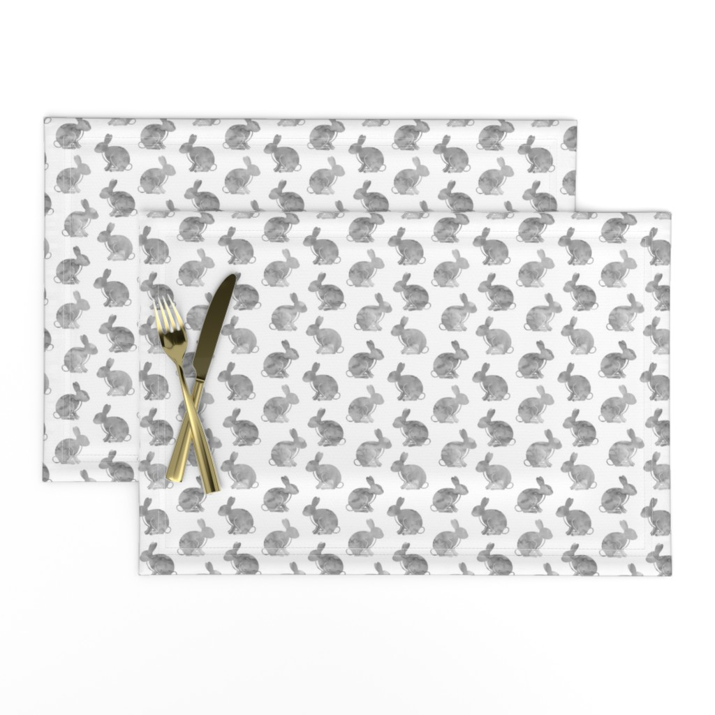 Lamona Cloth Placemats featuring watercolor bunnies    easter fabric - grey by littlearrowdesign