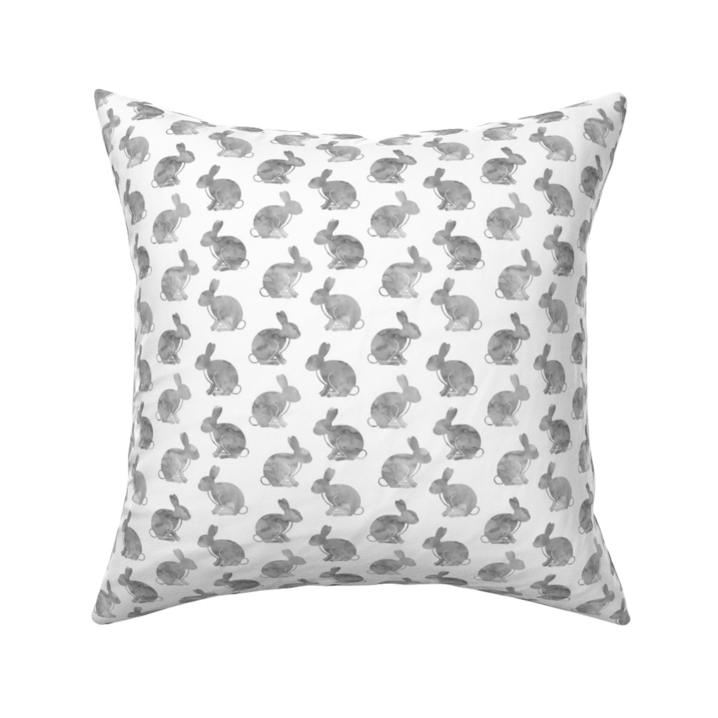 Catalan Throw Pillow featuring watercolor bunnies || easter fabric - grey by littlearrowdesign