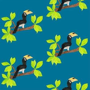 hornbills and jungle leaves medium blue