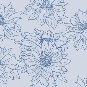 chrysanthemums blue on light grey