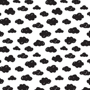 Black clouds black and white abstract geometric gender neutrals prints for kids Small