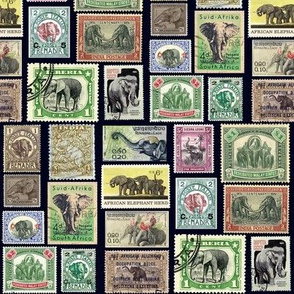 Elephant postage stamps - life sized on black