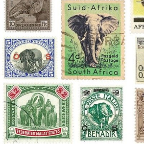 Extra-large elephant postage stamps