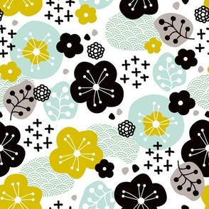 Japan cherry blossom flowers for print yellow mint