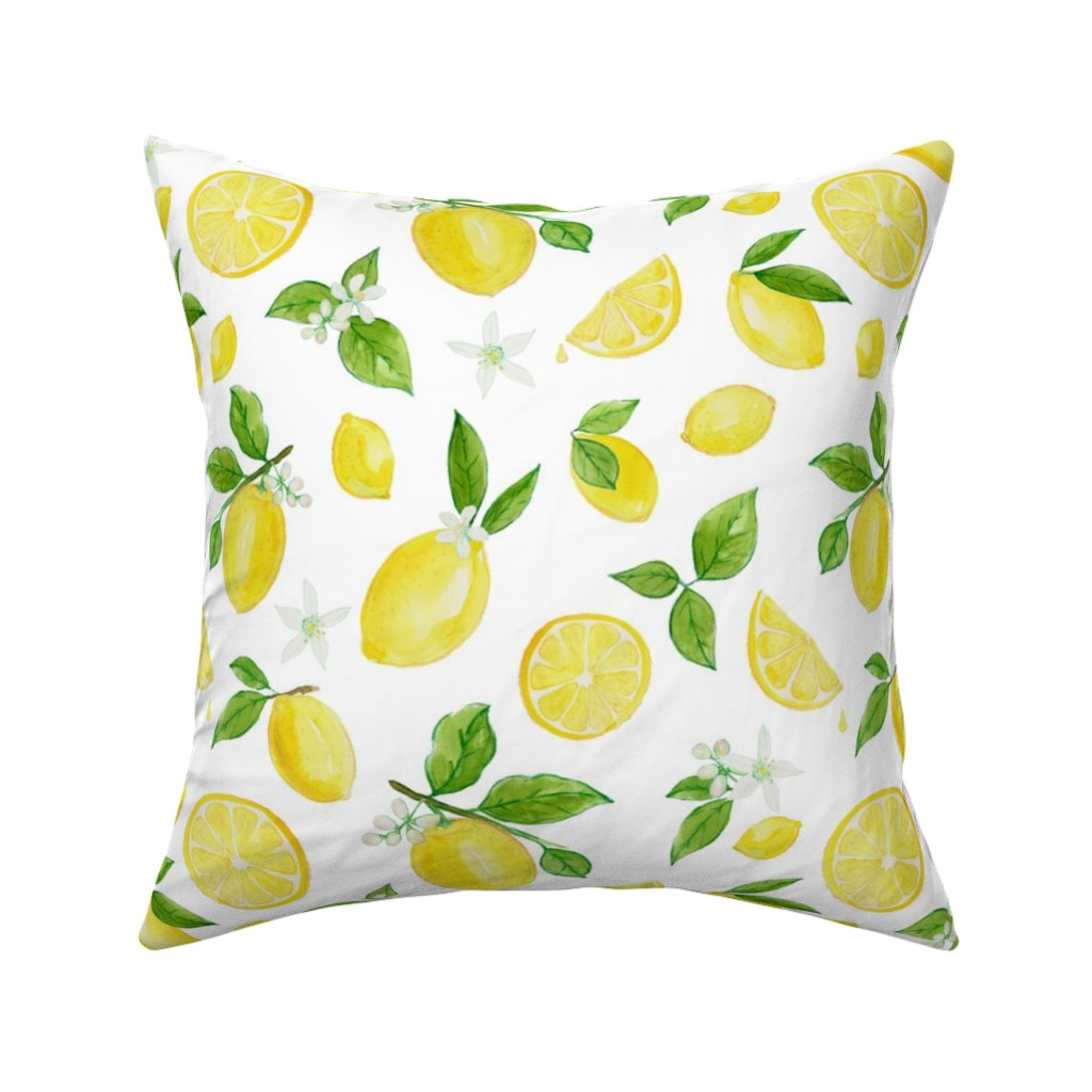 Catalan Throw Pillow featuring Lemons in Watercolor by heather_anderson