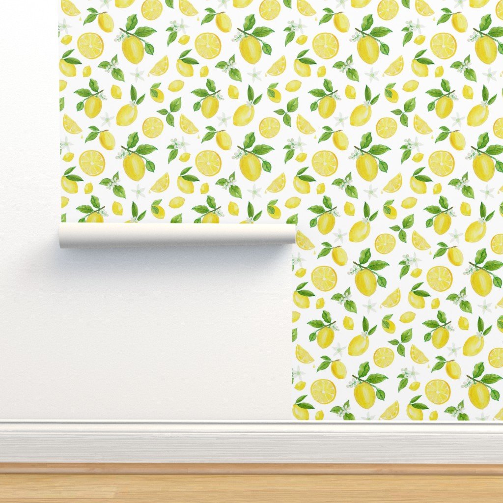 Isobar Durable Wallpaper featuring Lemons in Watercolor by heather_anderson