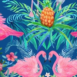 Watercolor Flamingo Floral  Pineapple Paradise ✿