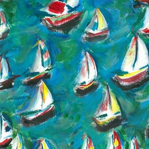 Painted Sailing Boats harbour