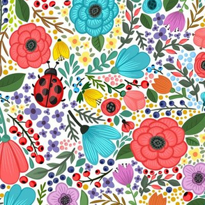 Spring Summer Flower Ladybug Blooms Blossoms