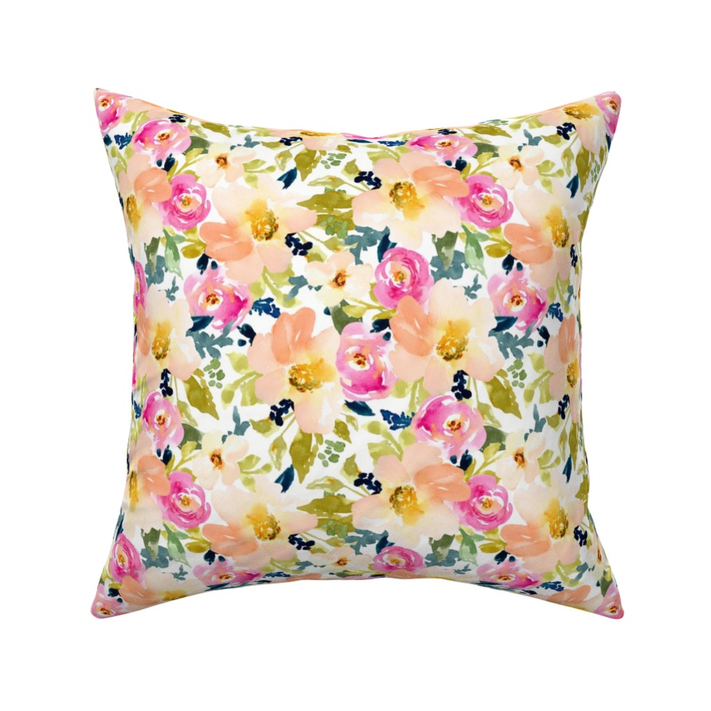 Catalan Throw Pillow featuring Portadown Watercolor Flowers on White by angiemakes