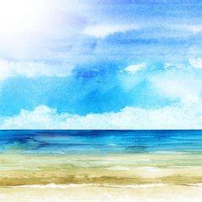 Watercolor Beach Ocean Summer Sky