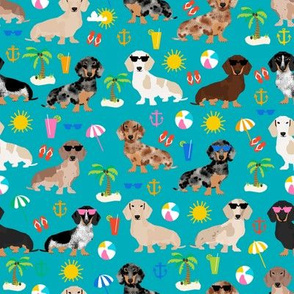dachshund summer beach fabric - doxie design summer beach day - peacock