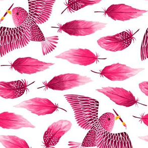 Birds painting their feathers pink (small)