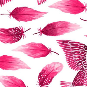 Birds painting their feathers pink