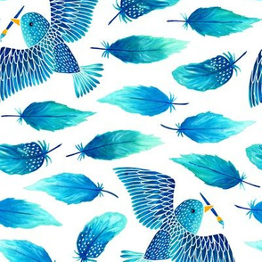 Birds painting their feathers blue (small)