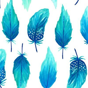 Watercolor feathers blue