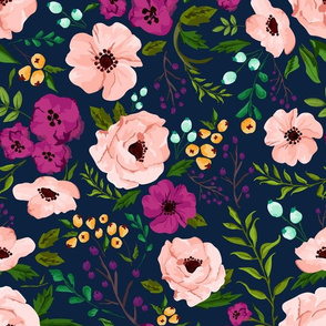 Josie Meadow Floral on Navy