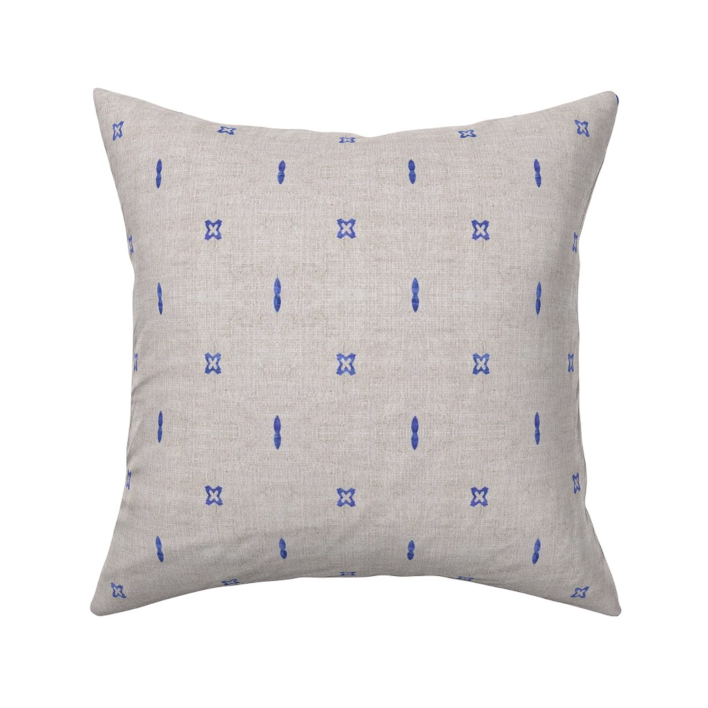 Catalan Throw Pillow featuring FRENCH_LINEN_BOHO_INDIGO by holli_zollinger