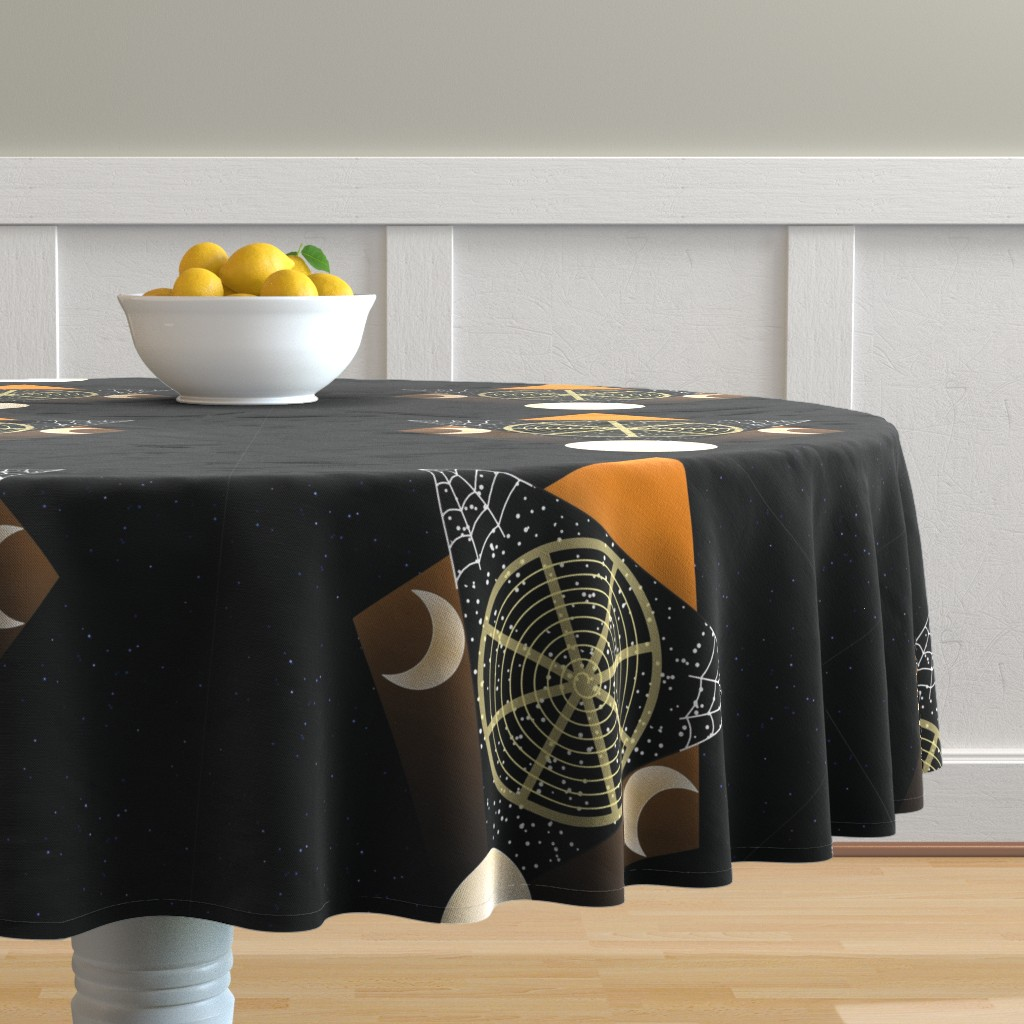 Malay Round Tablecloth featuring Samhain Wheel of the Year by magicinyourlivingroom