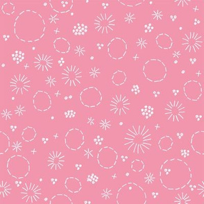 Floral Embroidery on Light Pink
