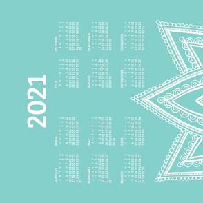 2021 Calendar, Sunday / Lotus  Turquoise