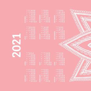 2021 Calendar, Sunday / Lotus Pale Red
