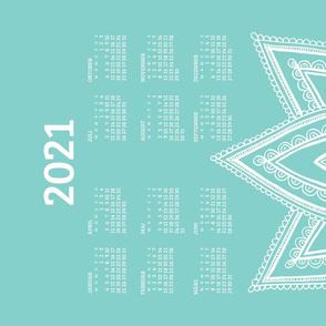 German 2021 Calendar, Monday / Lotus Turquoise
