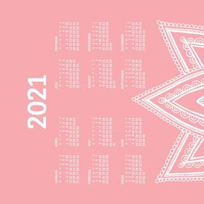 German 2021 Calendar, Monday / Lotus Pale Red