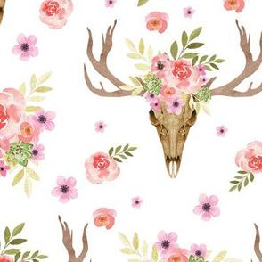 deer skull with floral