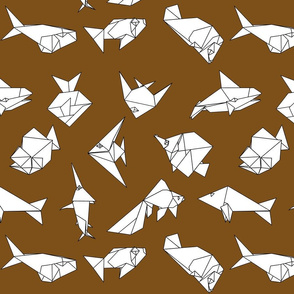 Origami fish folds on brown