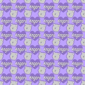 Tiny Angora rabbits with hearts - purple