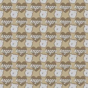 Tiny Angora rabbits with hearts - brown