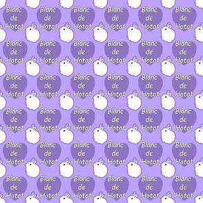Tiny Blanc de Hotot rabbits with hearts - purple