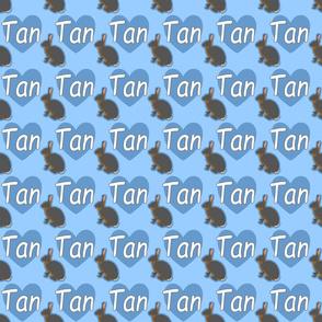 Tiny Tan rabbits with hearts - blue