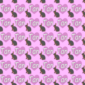 Tiny Tan rabbits with hearts - pink
